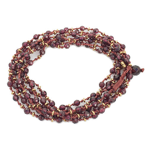 GARNET KNOTTED GEMSTONE WRAP