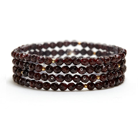 GARNET LAYERING GEMSTONE STRETCH BRACELET