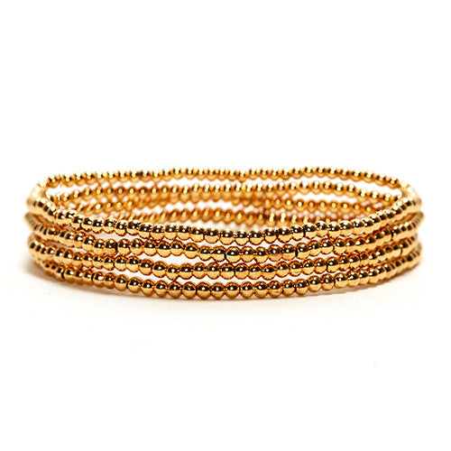 GOLD-PLATED LAYERING GEMSTONE STRETCH BRACELET