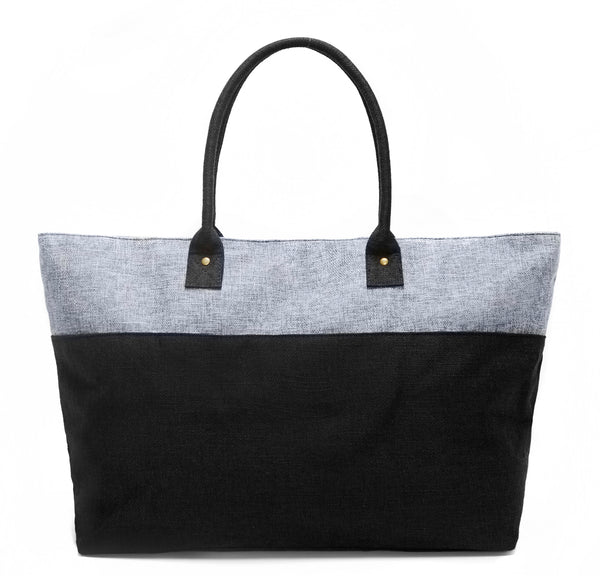 GREY AND BLUE DUEL LINEN TOTE BAG