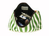 Green Striped Cosmetic Bag