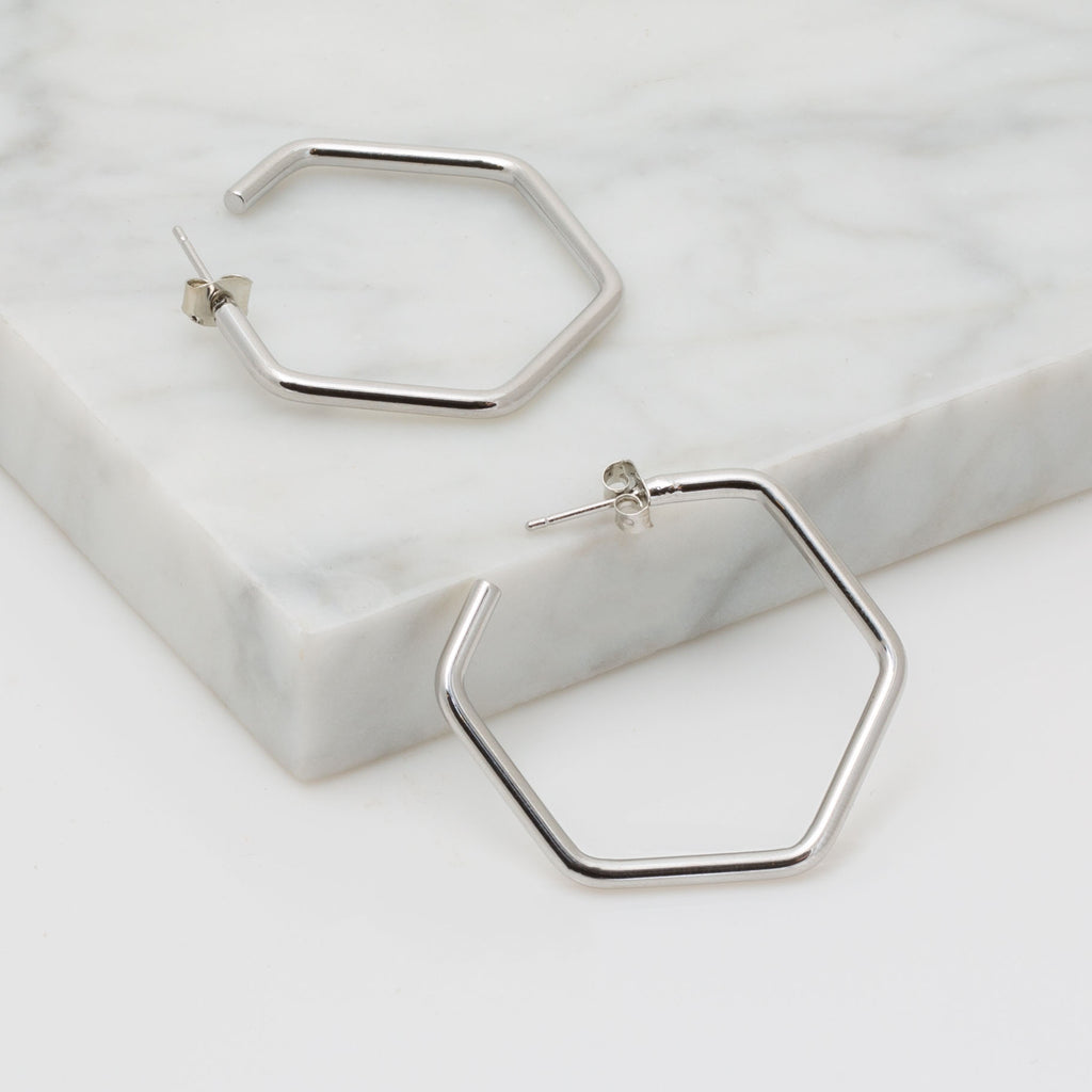 Hexagon Hoop Earring in Silver
