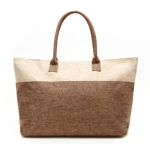IVORY AND TAN DUEL LINEN TOTE BAG