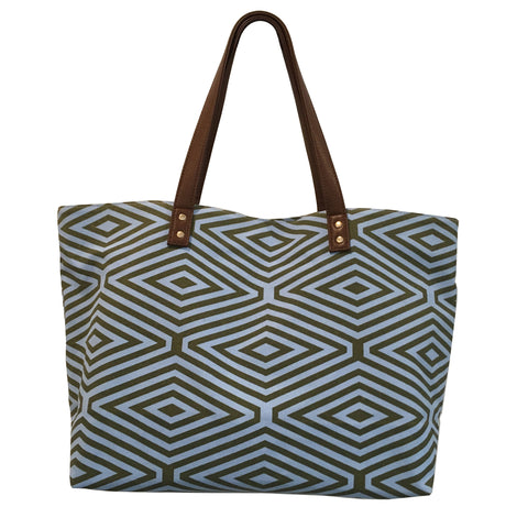 KALE AND BLUE DIAMOND PRINT TOTE BAG