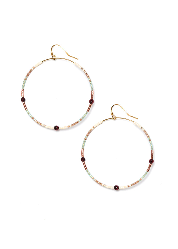 Garnet Andalusia Hoop Earrings