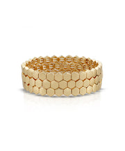 Gold Honeycomb Stretch Bracelet Trio