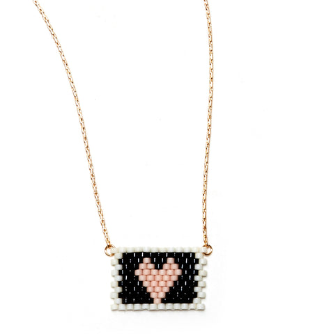 PINK HEART ON BLACK / IVORY BEADED HEART NECKLACE