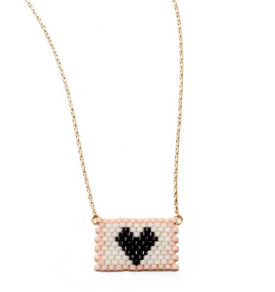 BLACK HEART ON IVORY / PINK BEADED HEART NECKLACE