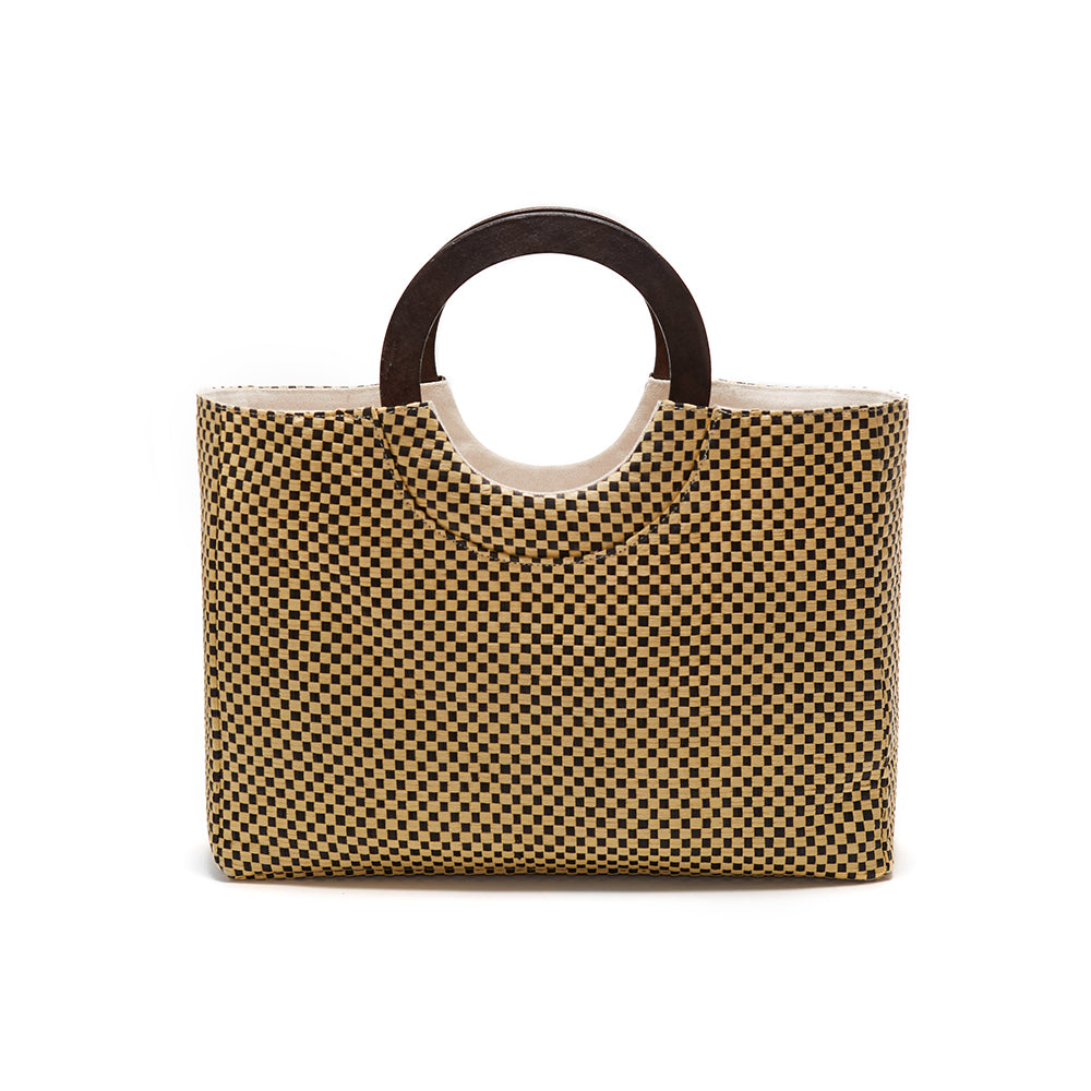 Black/Natural Basket Woven Raffia Tote