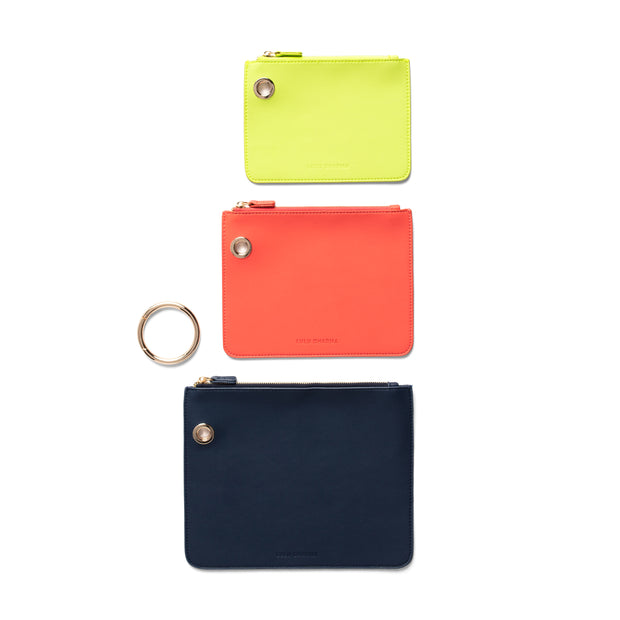 Navy/Coral/Lime Green Clutch Trio