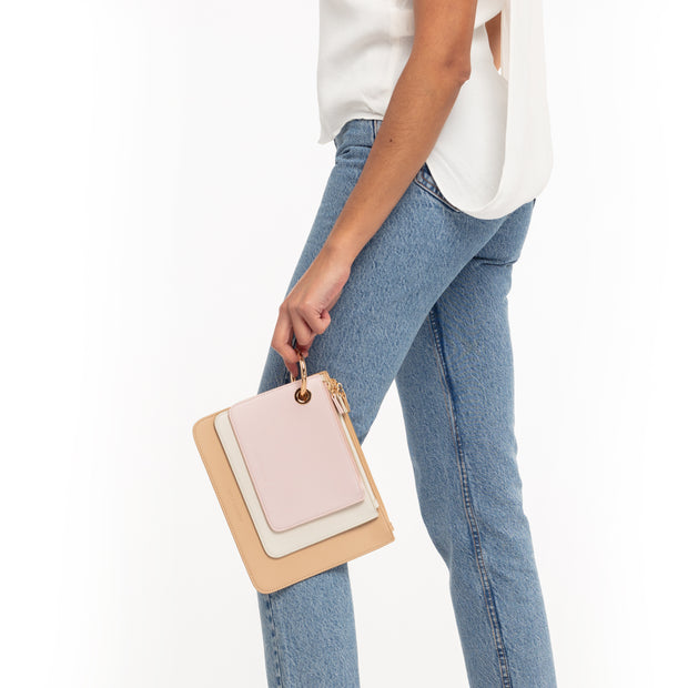 Camel/Off White/Rose Clutch Trio