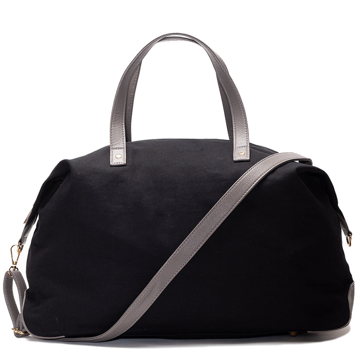 Black Canvas Color Block Overnight Bag