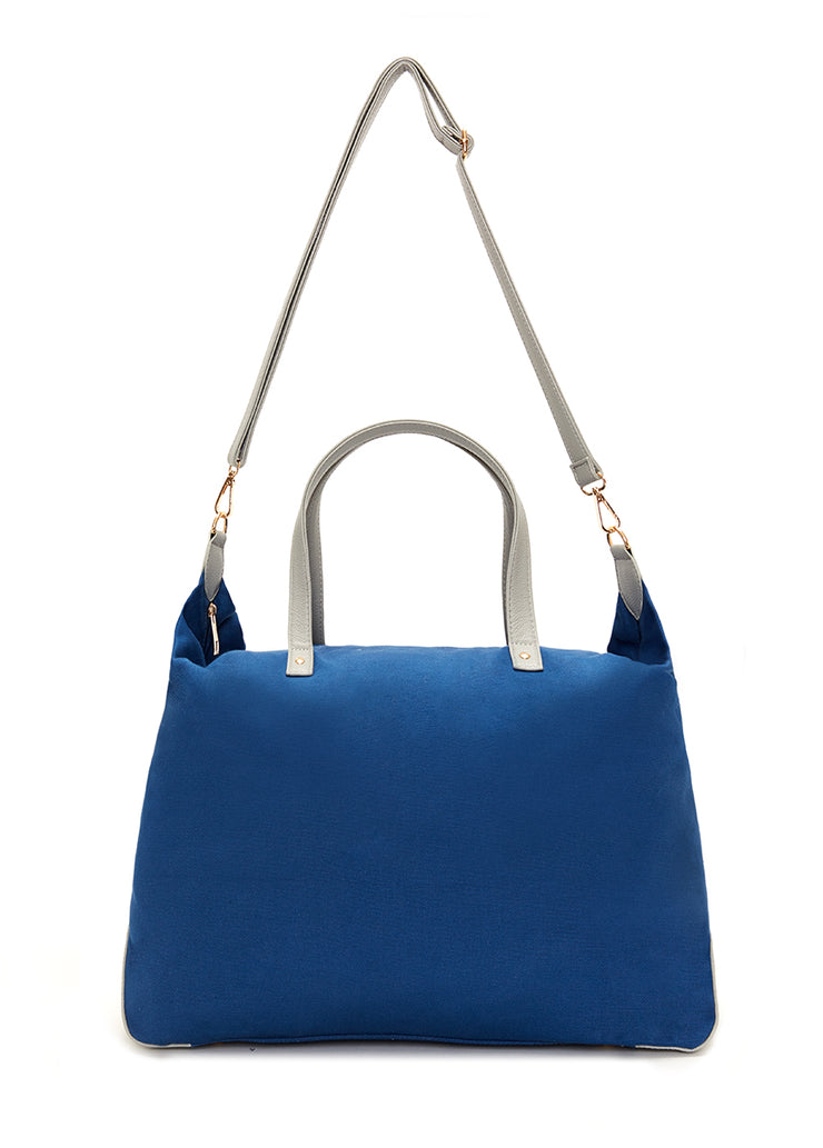 Indigo Canvas Color Block Overnight Bag
