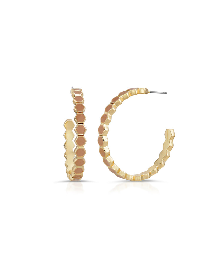 Blush Honeycomb Enamel Hoops