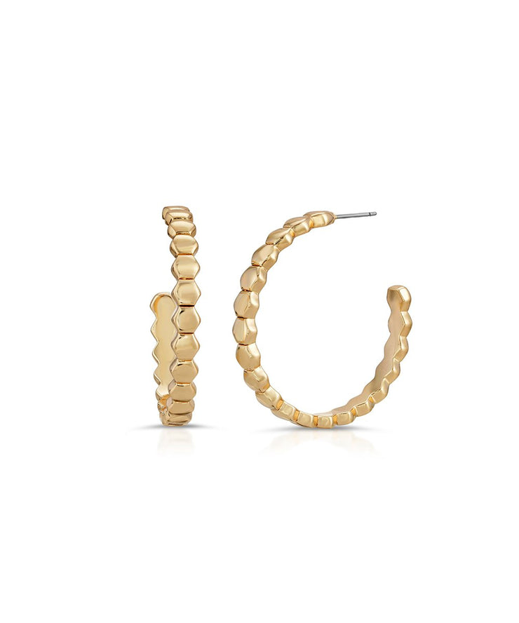 Gold Honeycomb Hoops