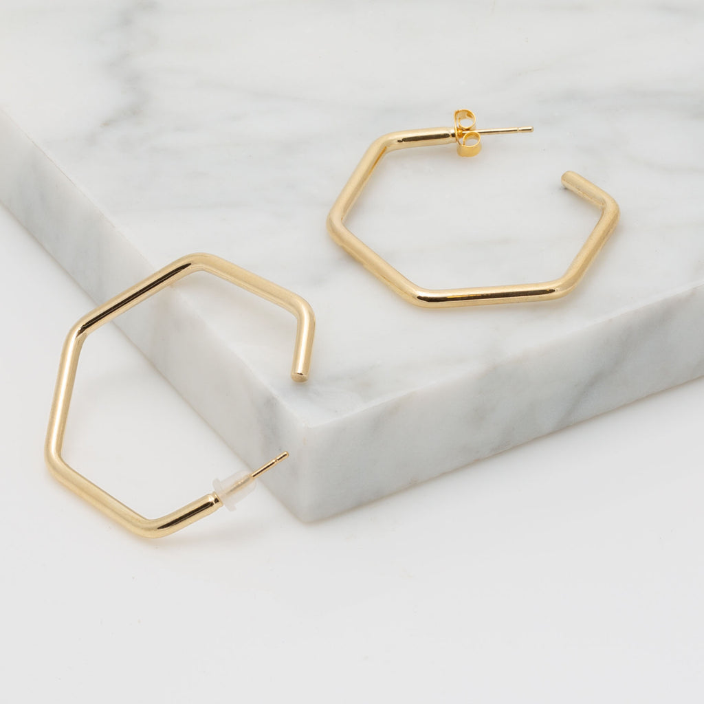 Hexagon Hoop Earring in Gold