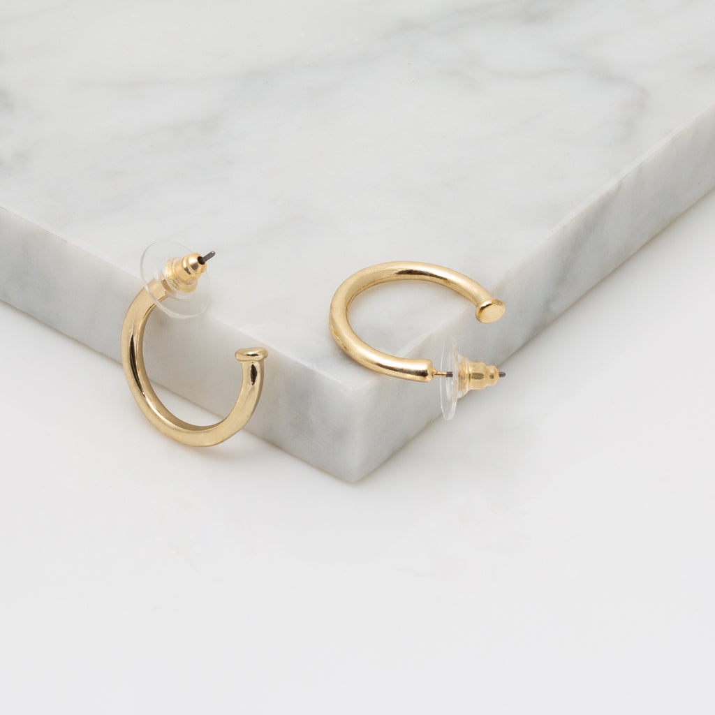 Gold Nail Head Hoop Earring