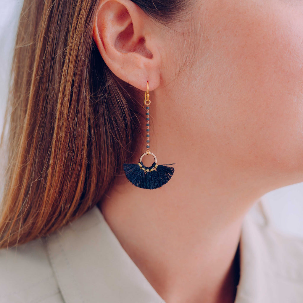 Black Lulu Fan Tassel Earring
