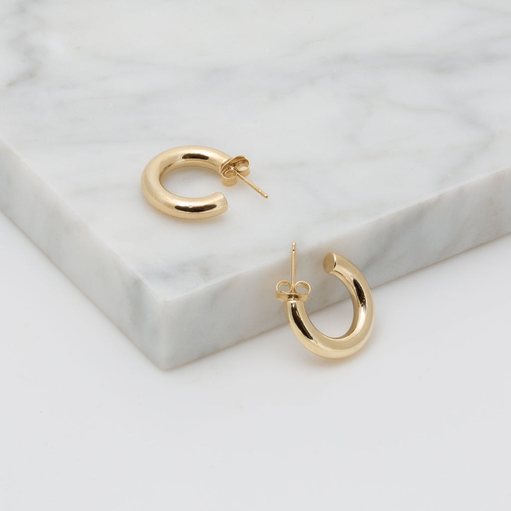 Gold Small Tubular Hoop Earring