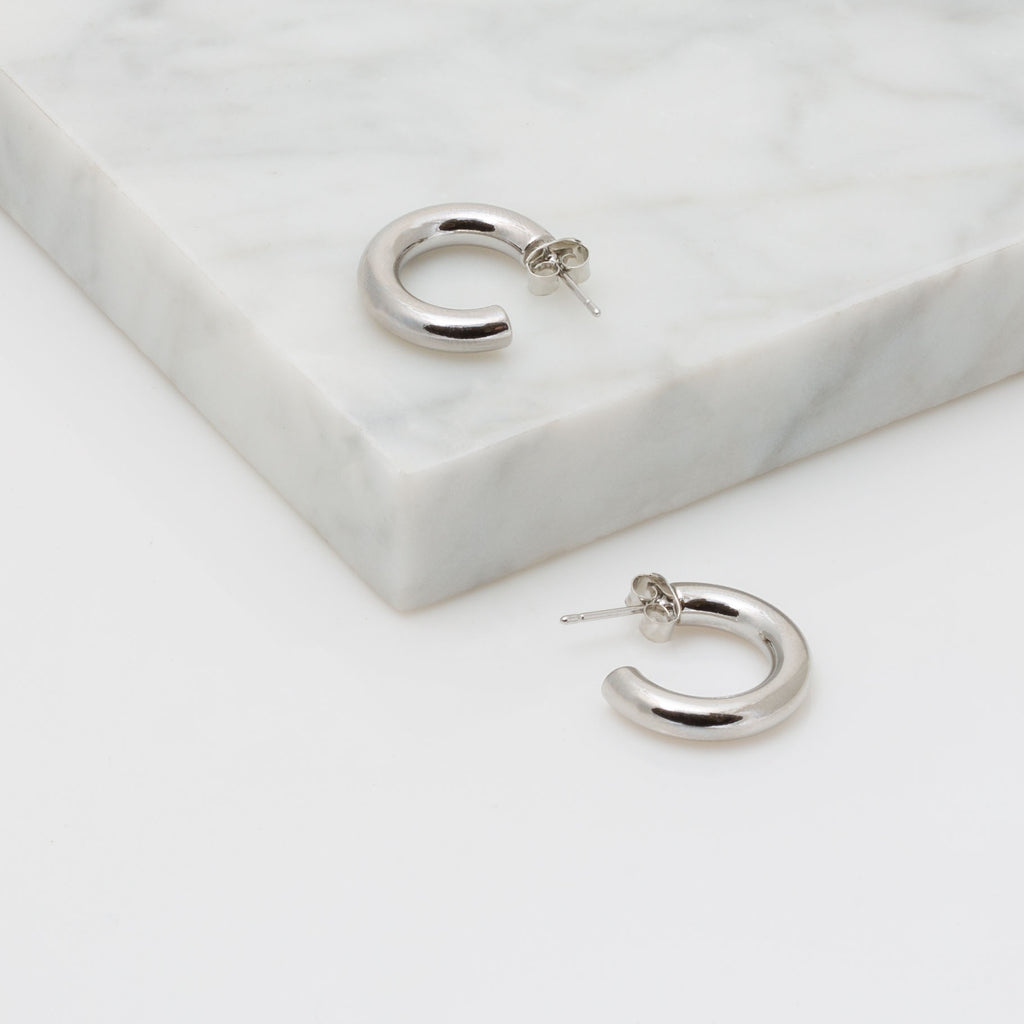 Silver Small Tubular Hoop Earring