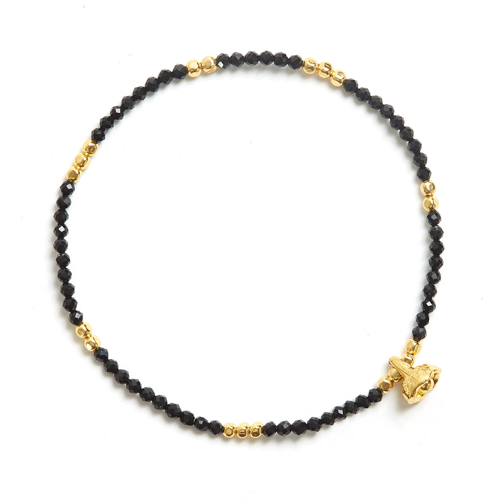 Black Agate and Gold Faceted Gemstone Bracelet with Bell Charm