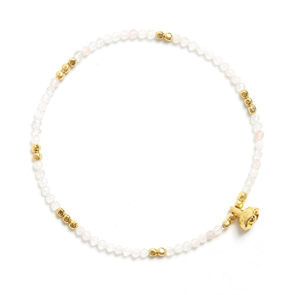 Cherry Quartz and Gold Faceted Gemstone Bracelet with Bell Charm