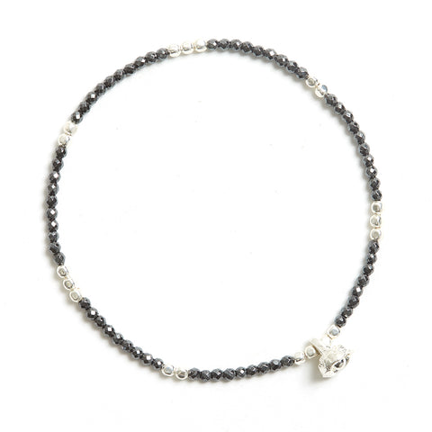 Hematite and Silver Faceted Gemstone Bracelet with Bell Charm