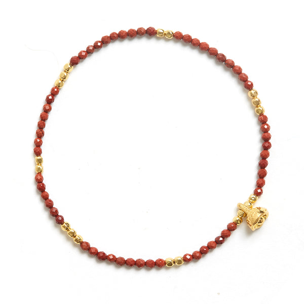 Red Jasper and Gold Faceted Gemstone Bracelet with Bell Charm