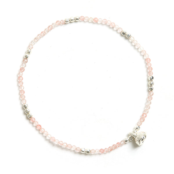 Rose Quartz and Silver Faceted Gemstone Bracelet with Bell Charm