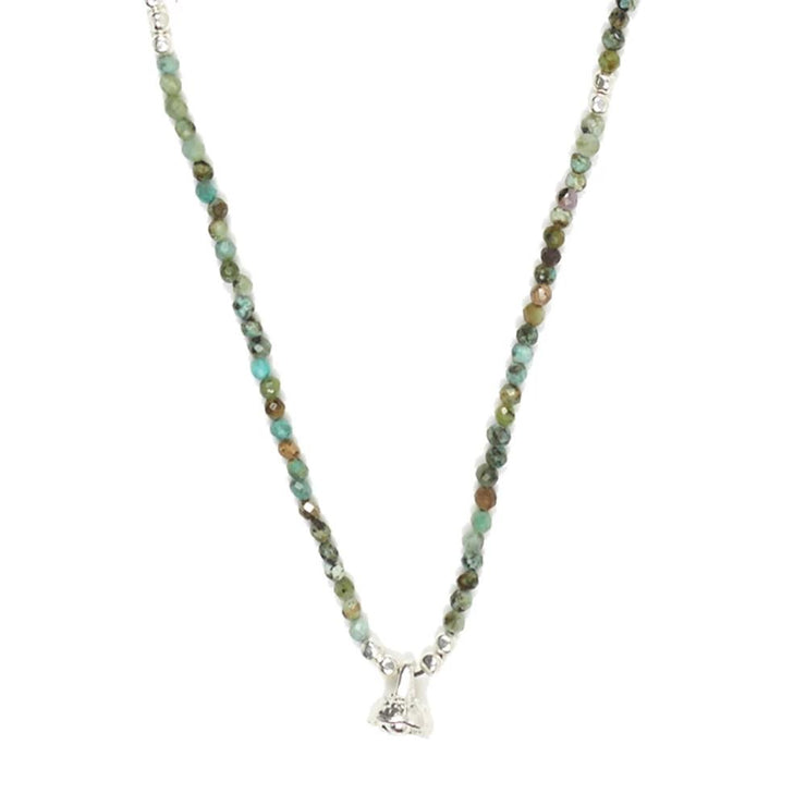 African Turquoise and Silver Faceted Gemstone Necklace with Bell Charm