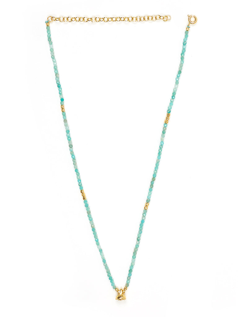 Amazonite and Gold Faceted Gemstone Necklace with Bell Charm