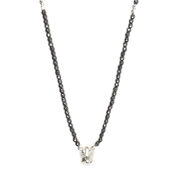 Hematite and Silver Faceted Gemstone Necklace with Bell Charm