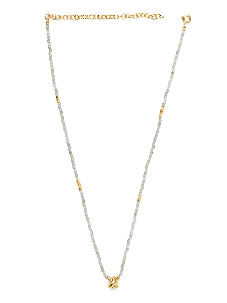Labradorite and Gold Faceted Gemstone Necklace with Bell Charm