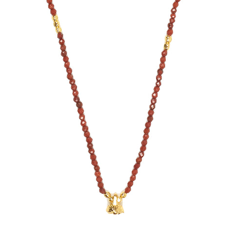 Red Jasper and Gold Faceted Gemstone Necklace with Bell Charm