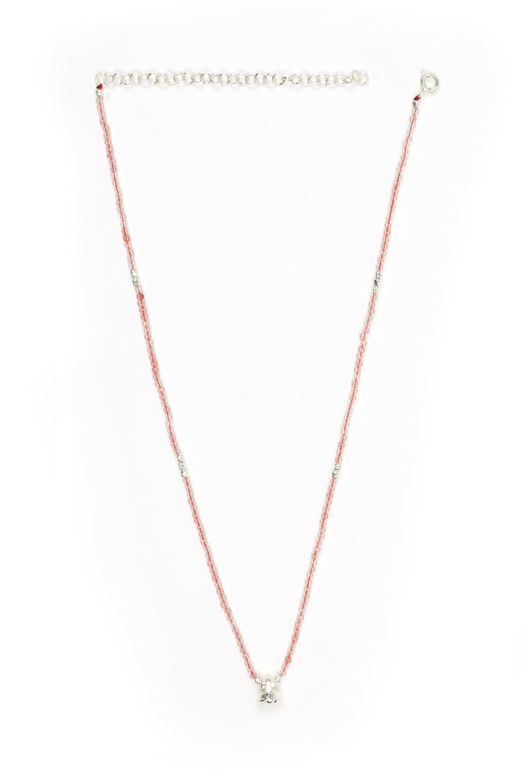 Cherry Quartz and Silver Faceted Gemstone Necklace with Bell Charm