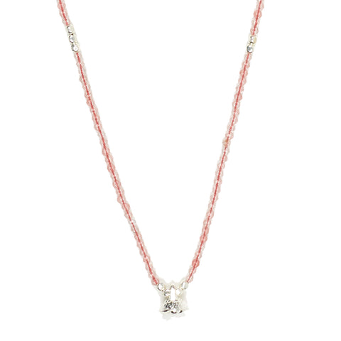 Rose Quartz and Silver Faceted Gemstone Necklace with Bell Charm