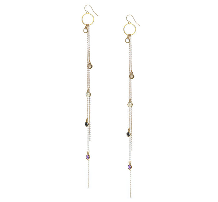Baby Gemstone Bezel and Chain Earrings
