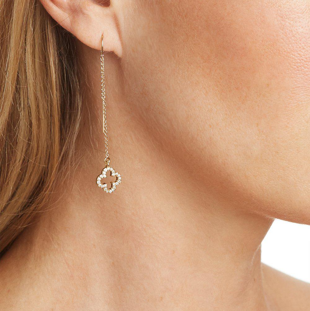 Four Leaf Clover Charm with Pave Crystal Earring in Gold