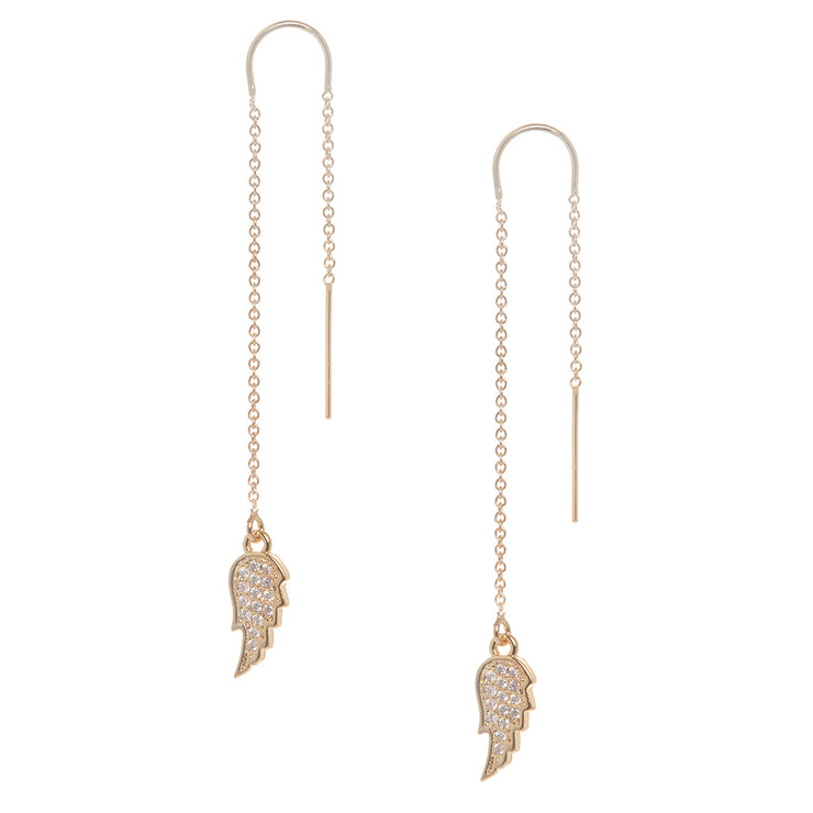 Angel Wing with Pave Crystal Earring in Gold