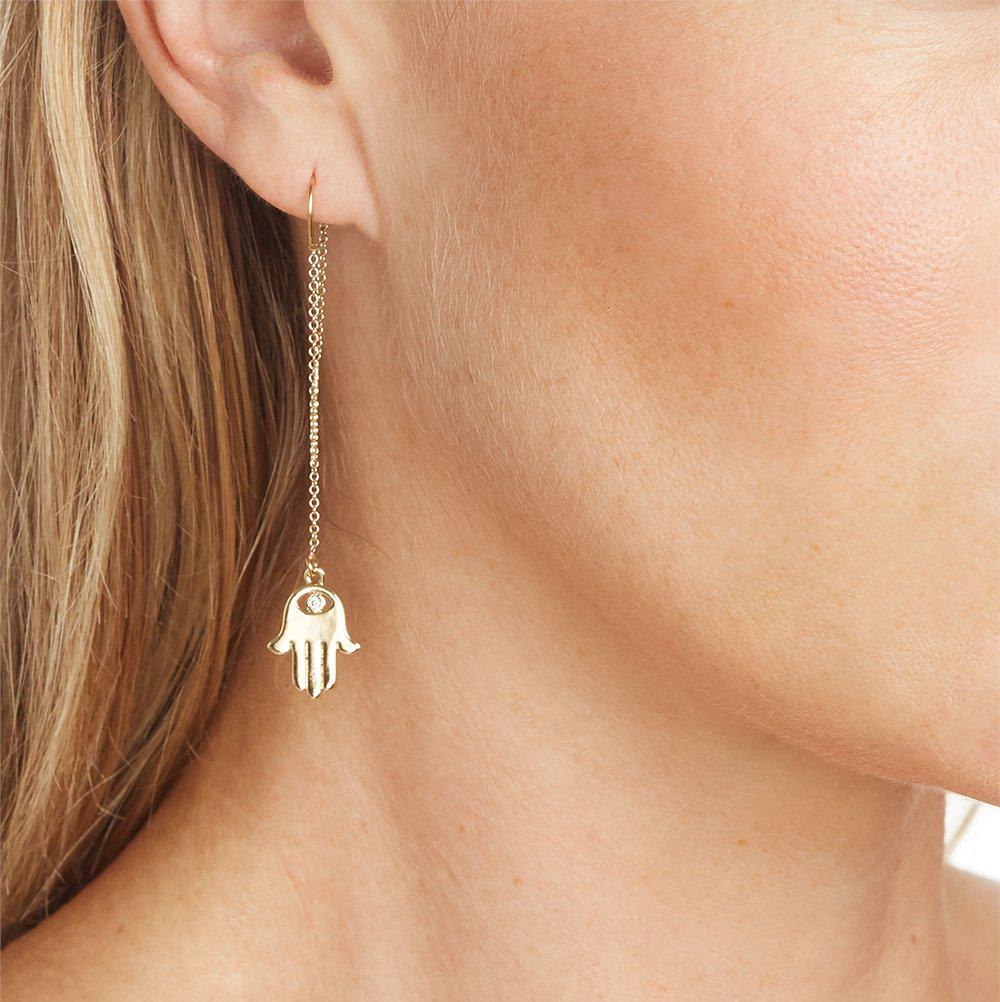 Hamsa Charm with Pave Crystal Eye Earring in Gold