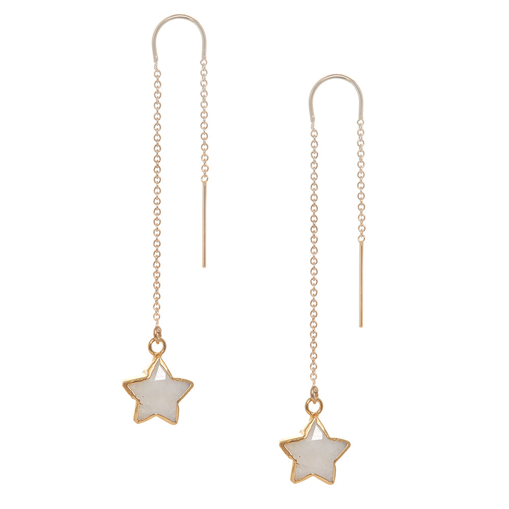 Moonstone Star Charm Earring in Gold