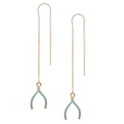 Wishbone Charm with Turquoise Pave Crystals Earring in Gold