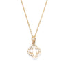 Four Leaf Clover Charm with Pave Crystal Necklace in Gold
