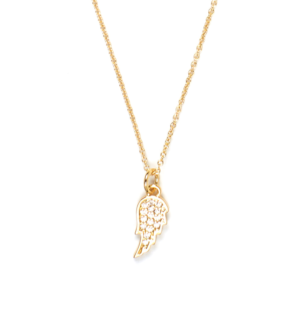 Angel Wing with Pave Crystal Necklace in Gold