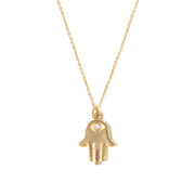 Hamsa Charm with Pave Crystal Eye Necklace in Gold