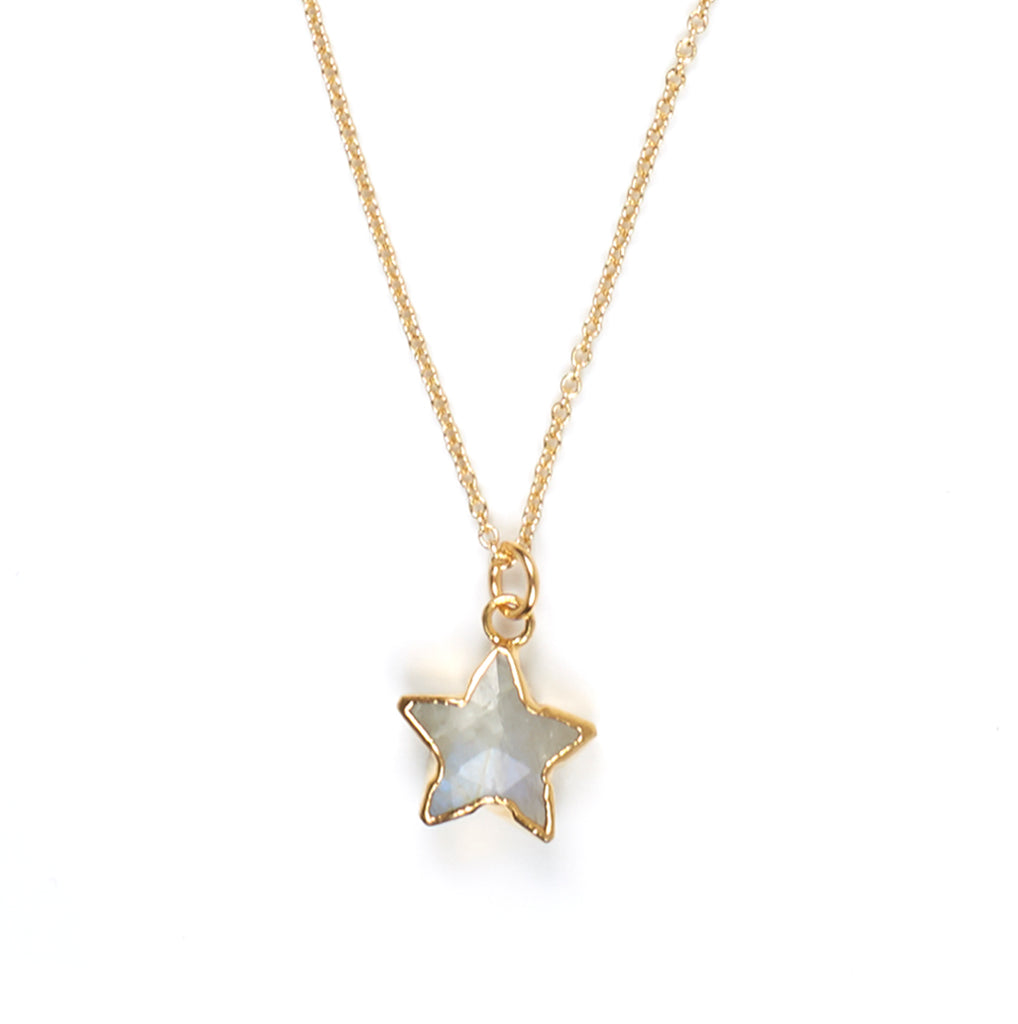 Moonstone Star Charm Necklace in Gold