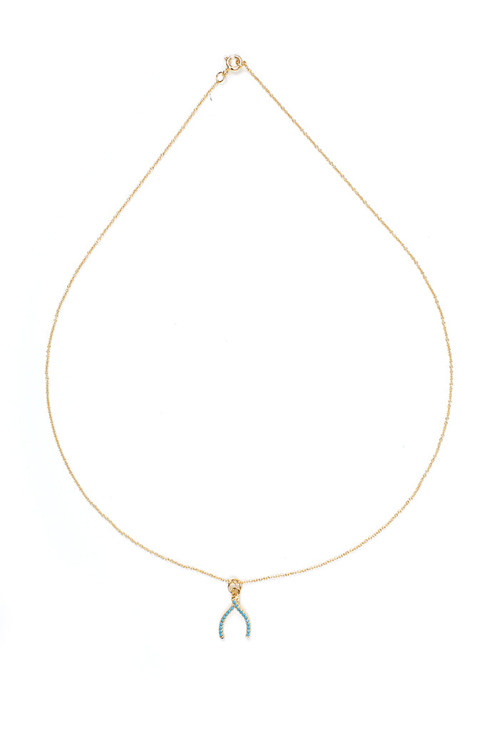 Wishbone Charm with Turquoise Pave Crystals Necklace in Gold