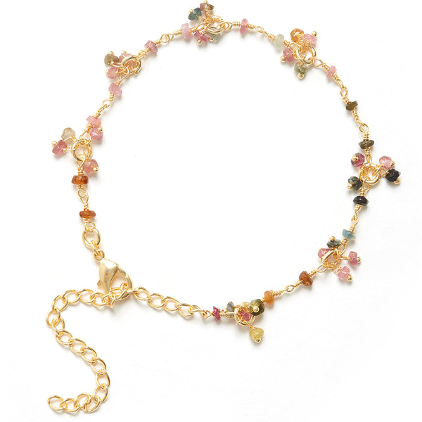 Tourmaline Gemstone Flower Bracelet
