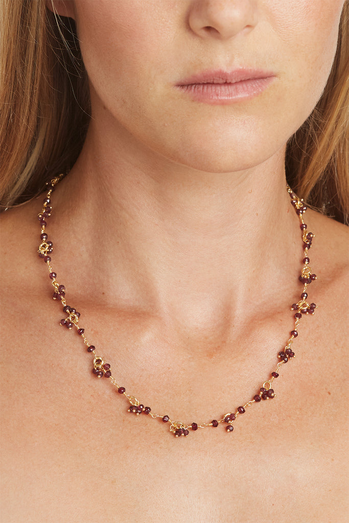 Garnet Gemstone Flower Necklace