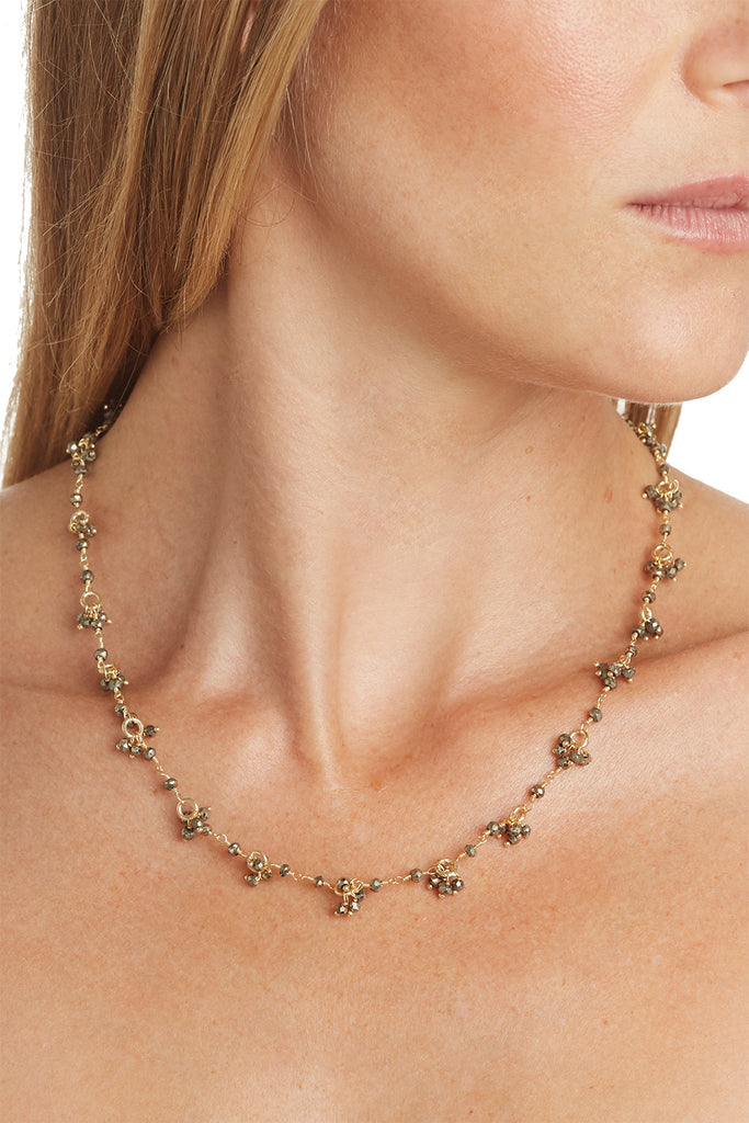 Pyrite Gemstone Flower Necklace